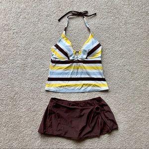 Sonoma Life Style 10 Tankini Brown Yellow Swimsuit